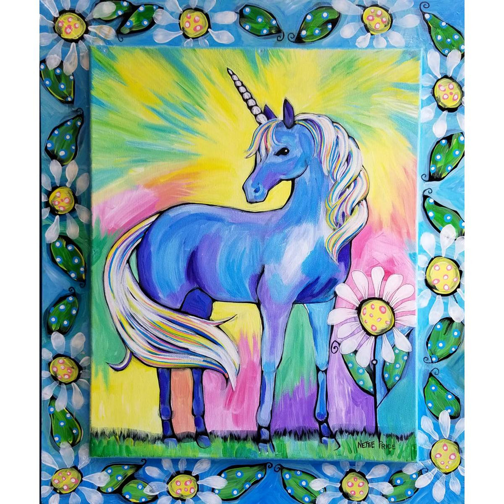 Magical Unicorn Original Acrylic Painting Framed