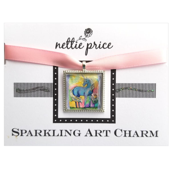 Magical Unicorn Sparkling Art Charm Silver Pendant for Necklace or Bracelet