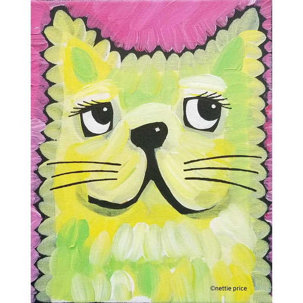 Yellow Cat Face original Acrylic on Canvas