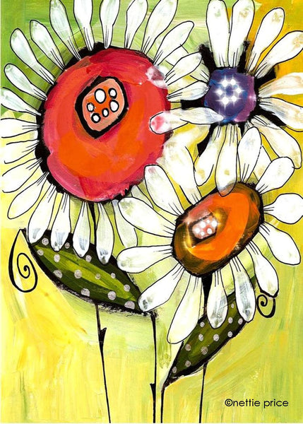 Big Red Daisy Sparkling Art Print