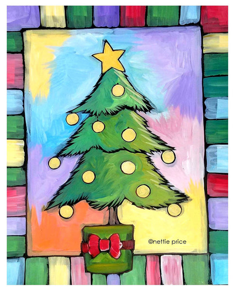 Personalized Christmas Tree Sparkling Art Print