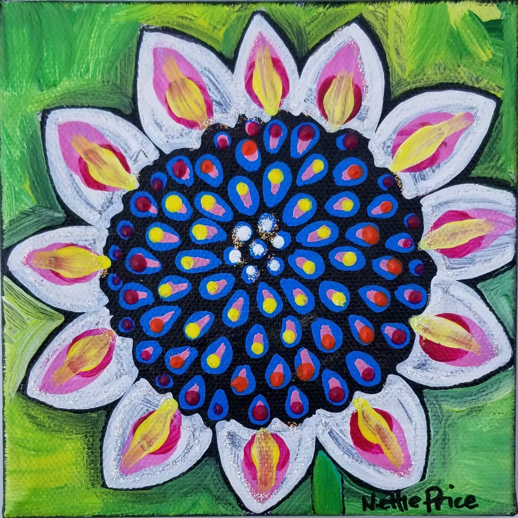 Mini Sunflower Sparkling Original Acrylic Painting Canvas 4x4
