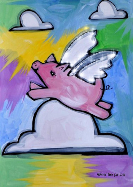 Famous Amos the Flying Pig Sparkling Art Print