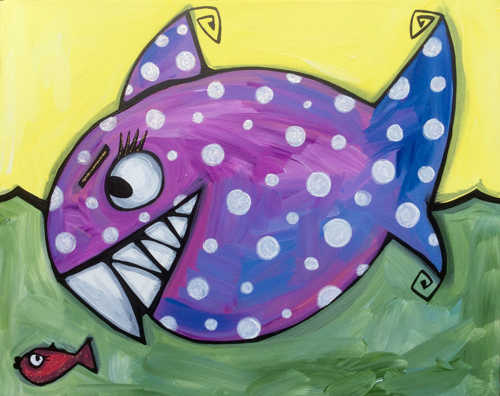 Polka dot Shark & little Fish original acrylic on canvas sparkling painting  signed