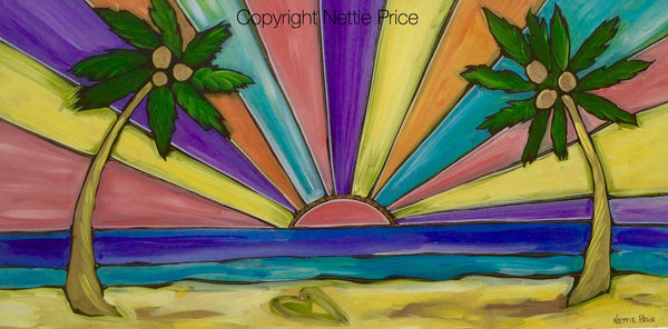 Paradise Sunset Original Painting on Birch Panel
