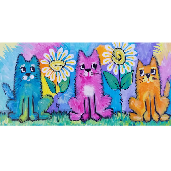 3 Cats Daisies original Acrylic Kitty Painting on Canvas 10x20 SOLD