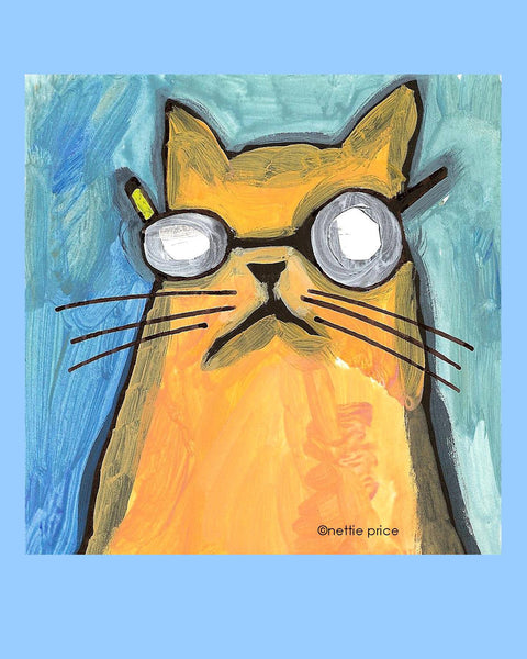 Mikey Orange Cat Sparkling Art Print