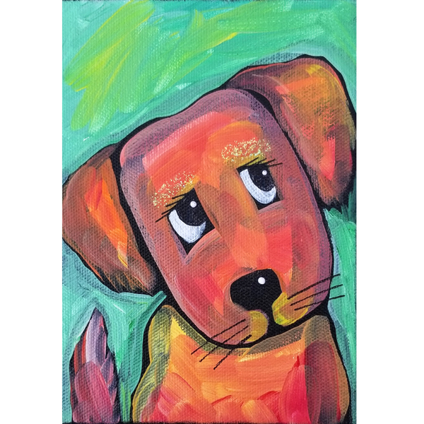 Orange Dog Sparkling Original Acrylic Painting Canvas 5x7