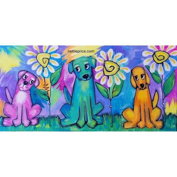 3 Pups Daisies original Acrylic Dog Painting on Canvas 10x20 SOLD