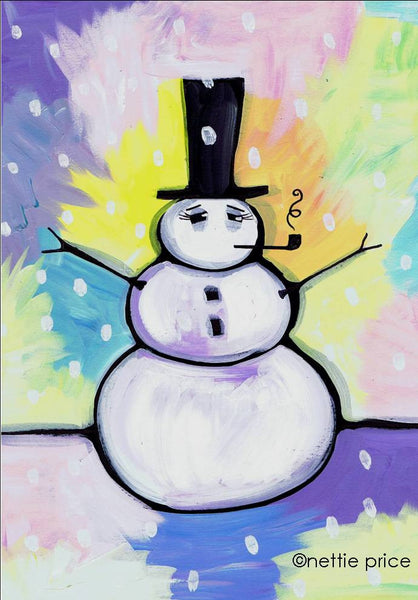 Snow Man Sparkling Art Print