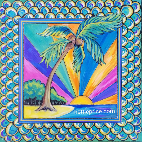 Tropical Island Breeze Original Acrylic Painting on Canvas 20x20