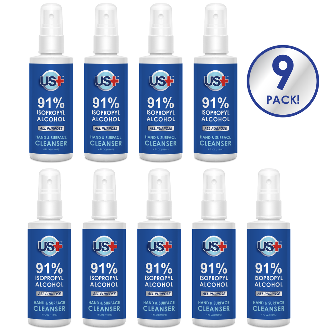 2 oz Disinfectant Spray, <br> 91% Isopropyl Alcohol (9-Pack)