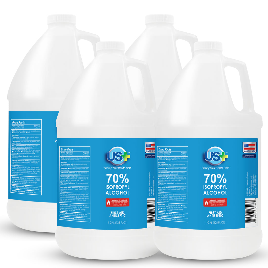 4 Gallons US+ 70% Isopropyl Alcohol Bulk (1 Gallon x 4) - USP/Medical Grade