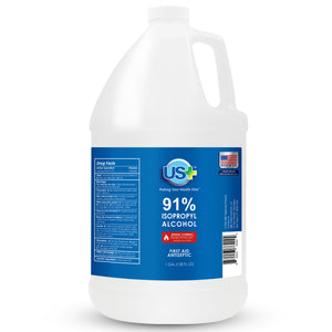 4 Gallons US+ 91% Isopropyl Alcohol Bulk (1 Gallon x 4) - USP/Medical Grade