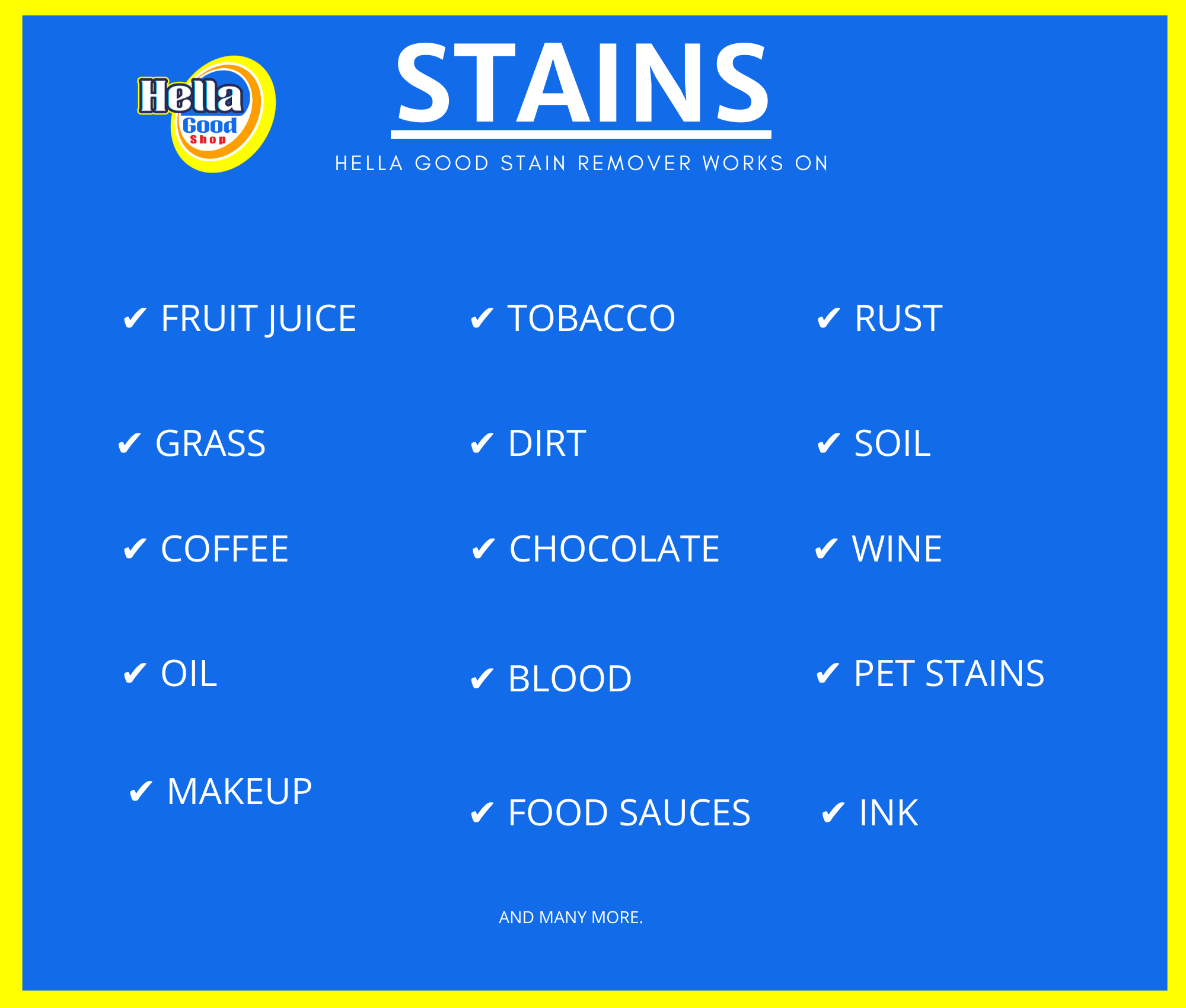 Stain Remover removes these stains