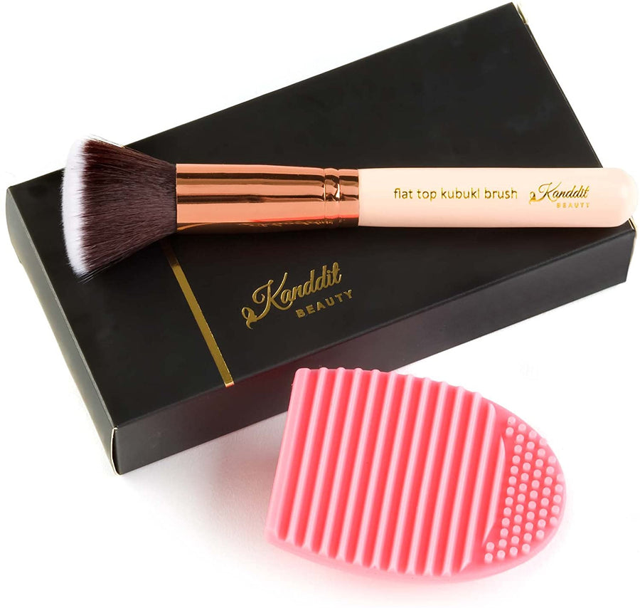 Kanddit Beauty™ Flat Top Make Up Brush With Brush Cleaner Egg Foundation - Premium Quality Bristles