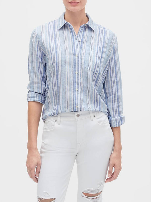 Gap Stripe Long Sleeve Shirt - Azul Rayas
