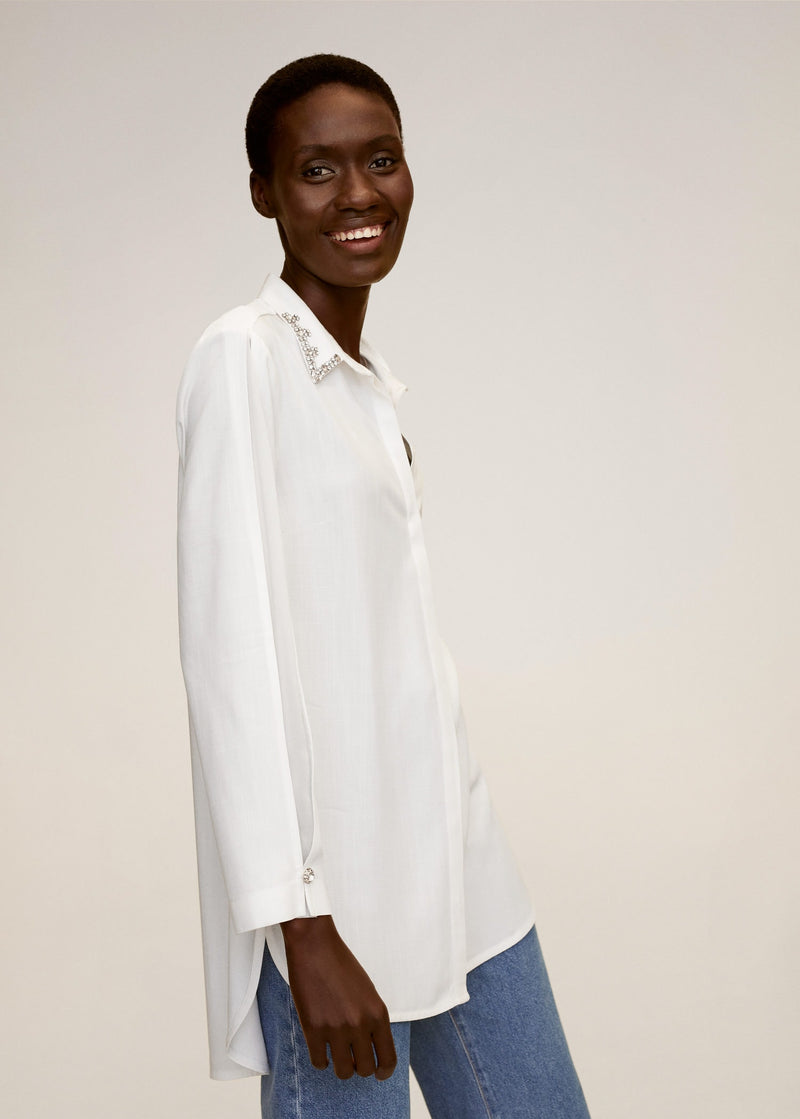 MNG Camisa Cuello Abalorios - Off White