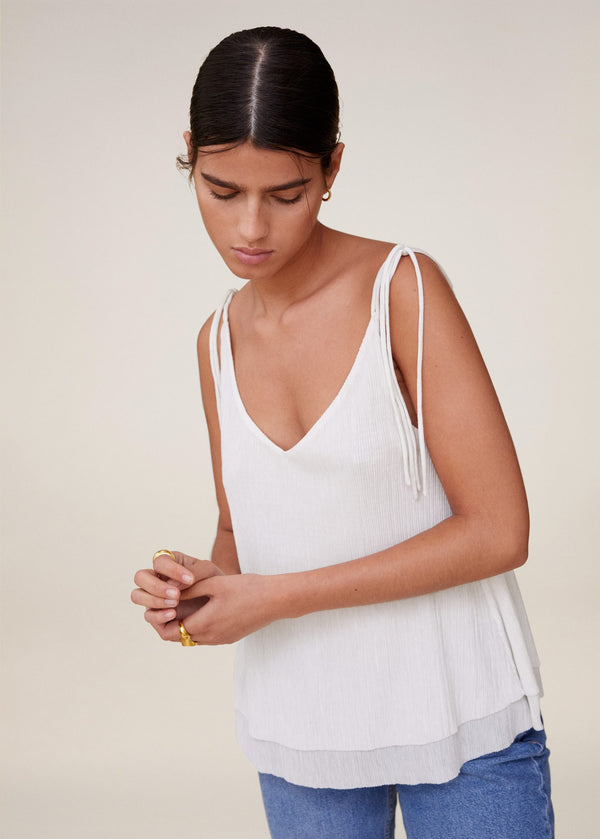 MNG Top Tirantes Lazo - Off White