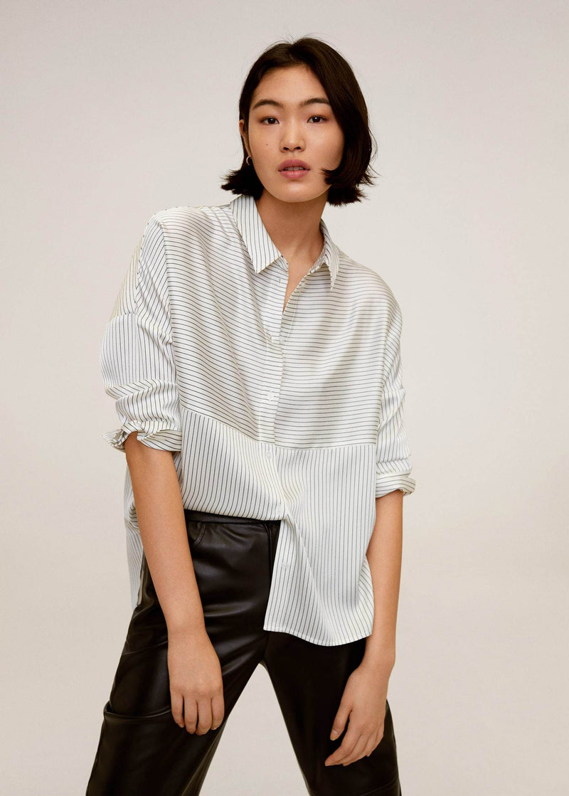 MNG Camisa Oversize Rayas - Offwhite