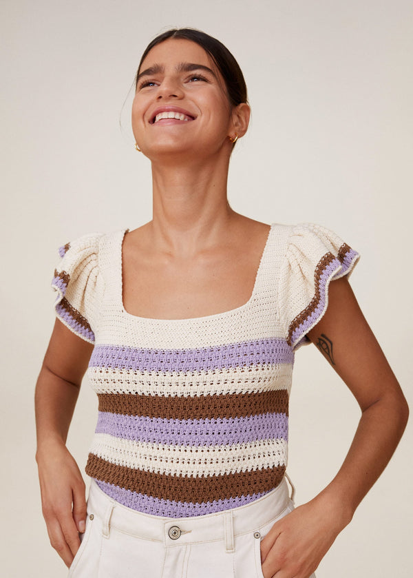 MNG Top Crochet Rayas - Crudo