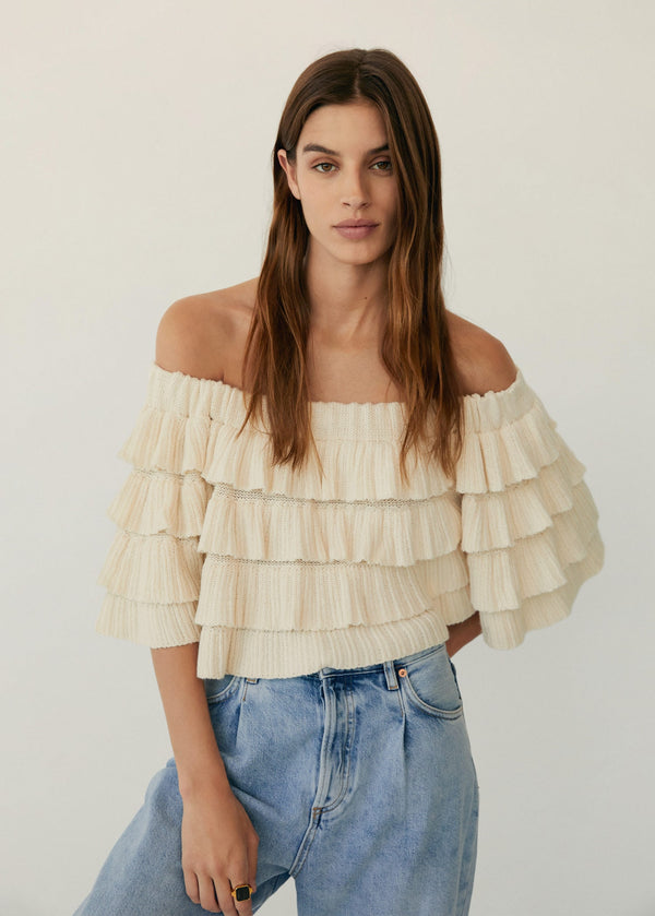 MNG Top Off-Shoulder Volantes - Crudo