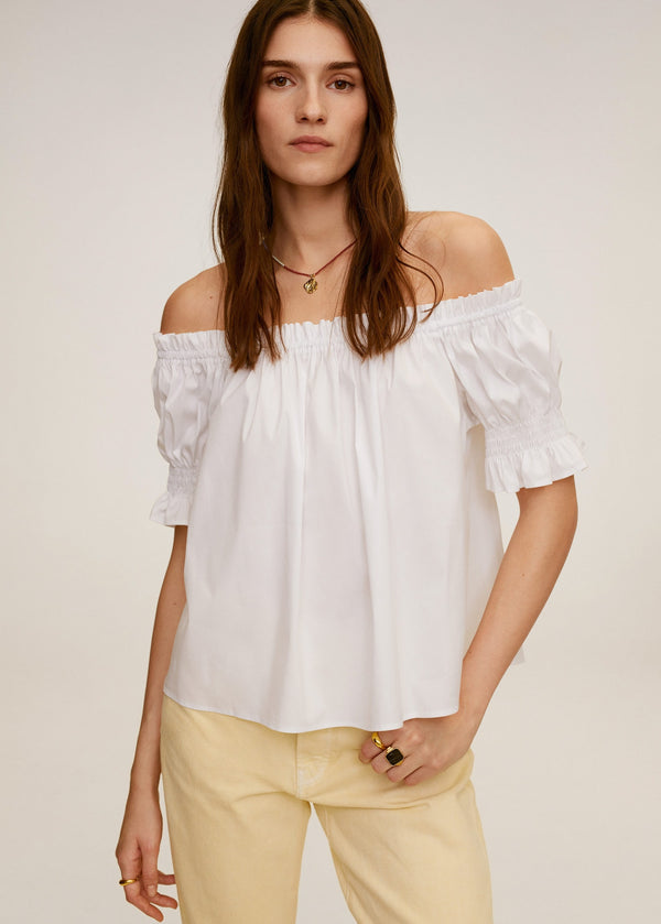 MNG Blusa Off-Shoulder - Off White