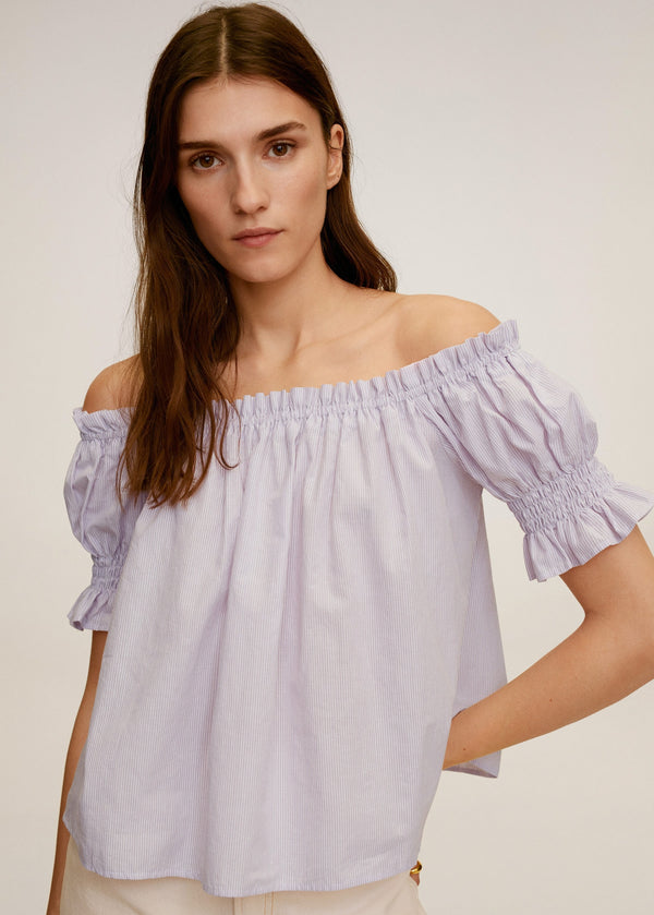 MNG Blusa Off-Shoulder - Lila