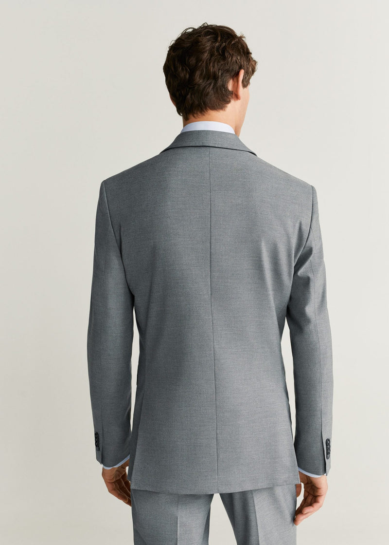 MNG Americana Traje Slim Fit Microestructura - Gris
