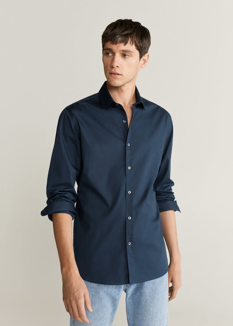 MNG Camisa Slim Fit Algodón - Navy