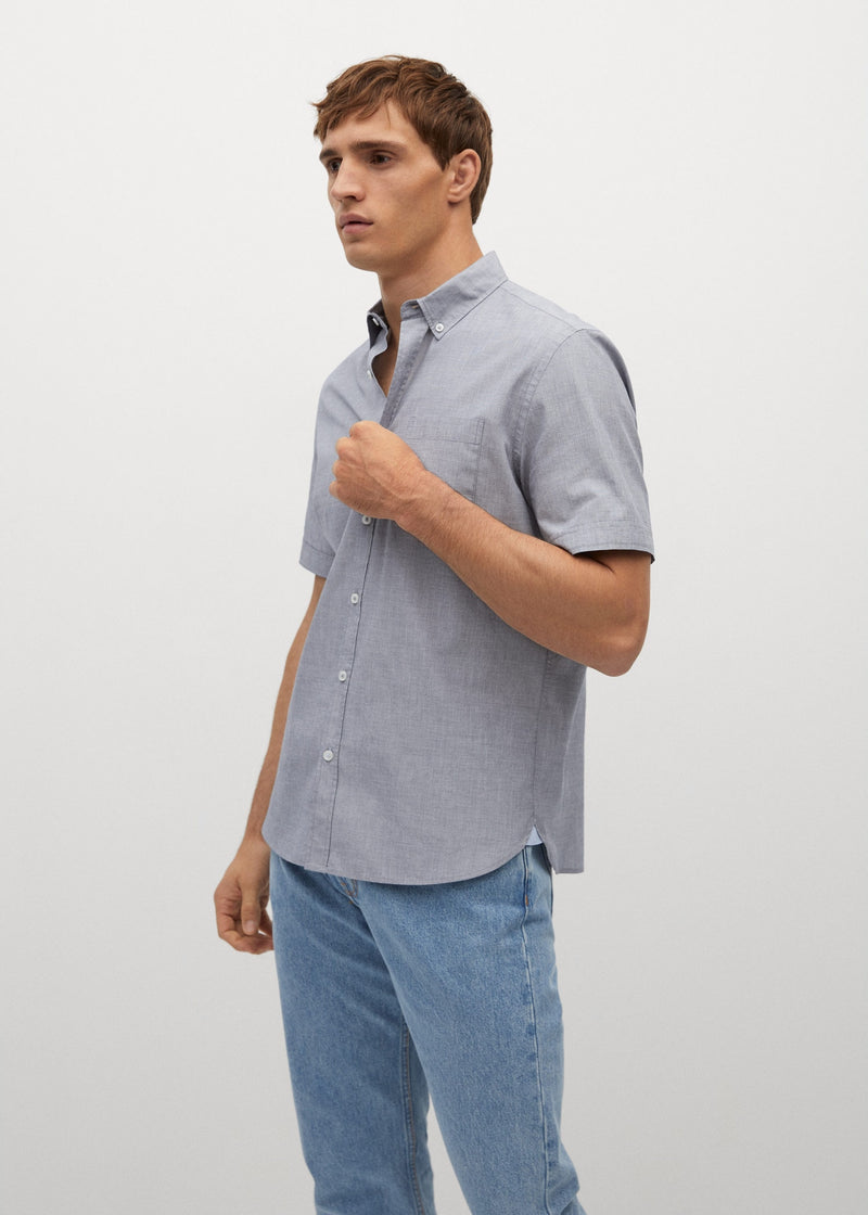 MNG Camisa Regular Fit Algodón - Navy