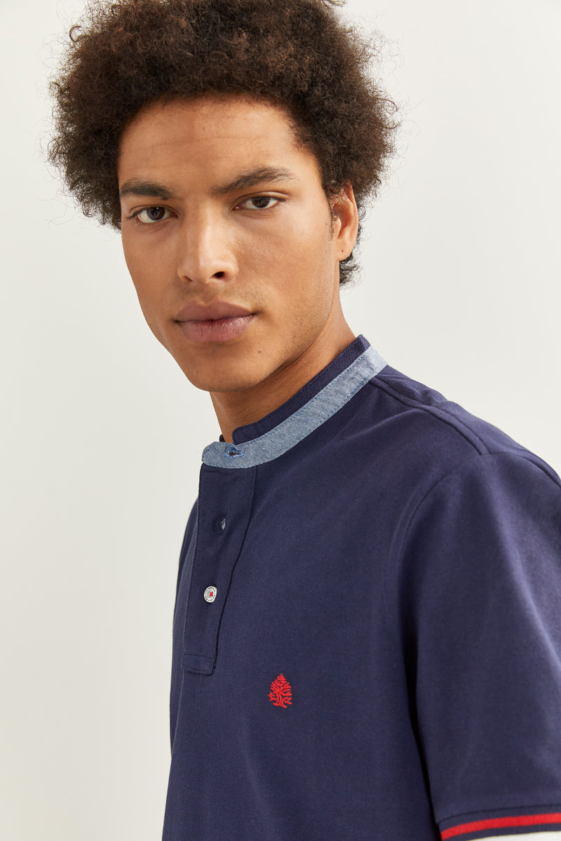 SPF Polo Mao Slim Chambray - Azul