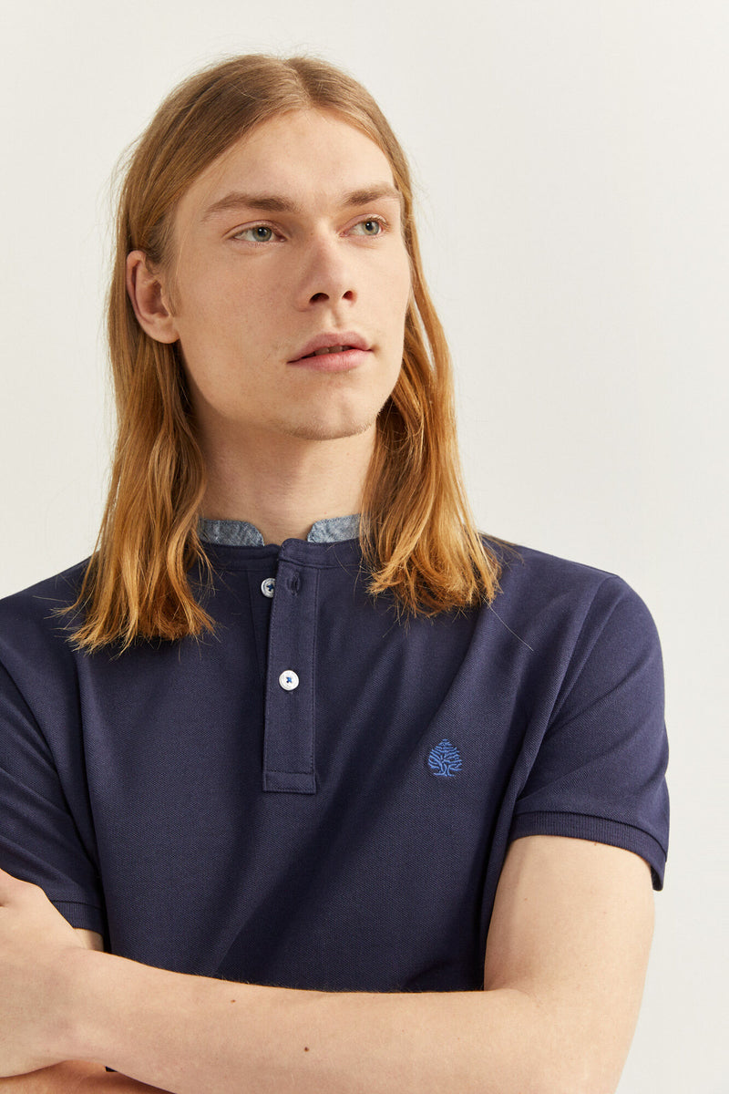 SPF Polo Slim Mao Chambray - Azul Medio