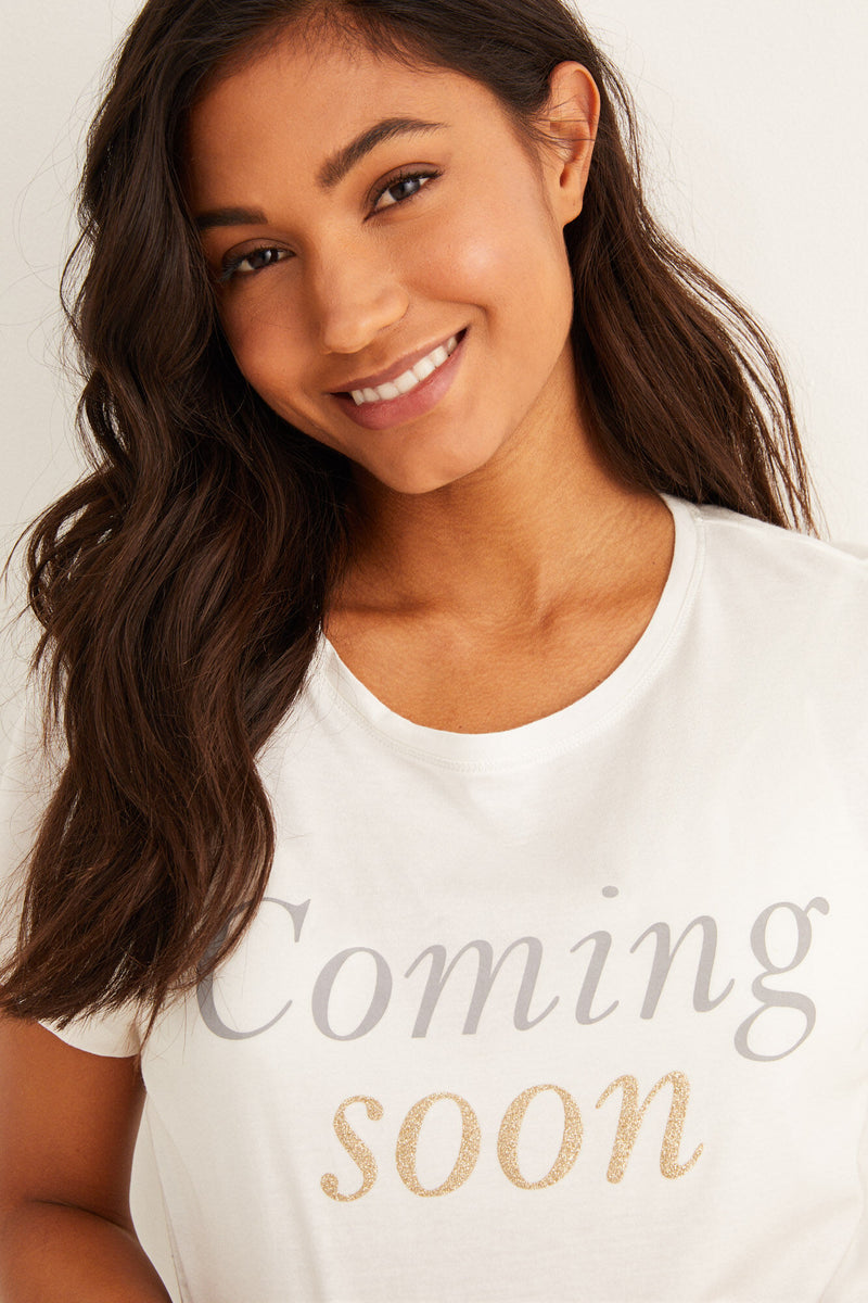 "WS Camiseta Maternity ""Coming Soon"" - Marfil"