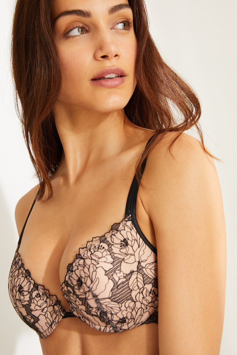 WS Gorgeous Sujetador Push Up Encaje Bordado - Negro