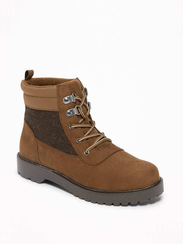 ON Sueded Hiking Boots For Boys - Worker Brown