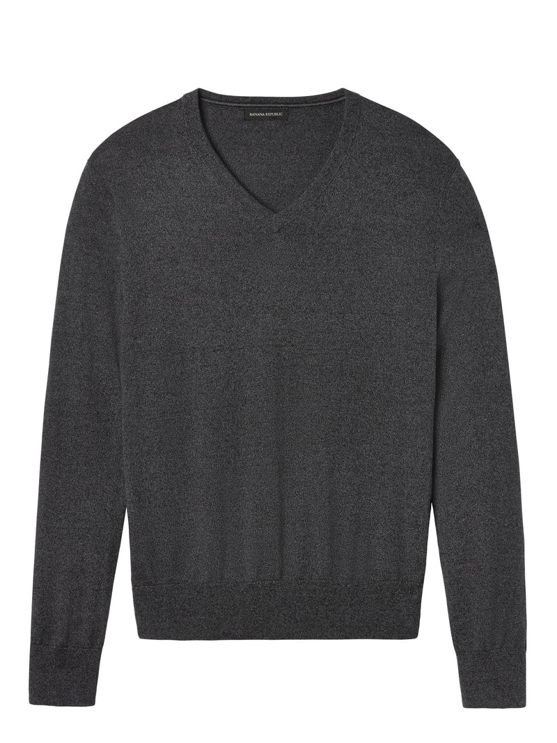 Non Iron Sweater-Vee-Smoke Grey