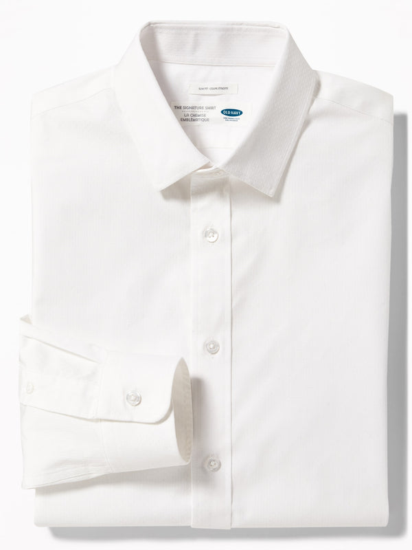Camiseta Manga Larga Slim Signature Shirt-White Dobby