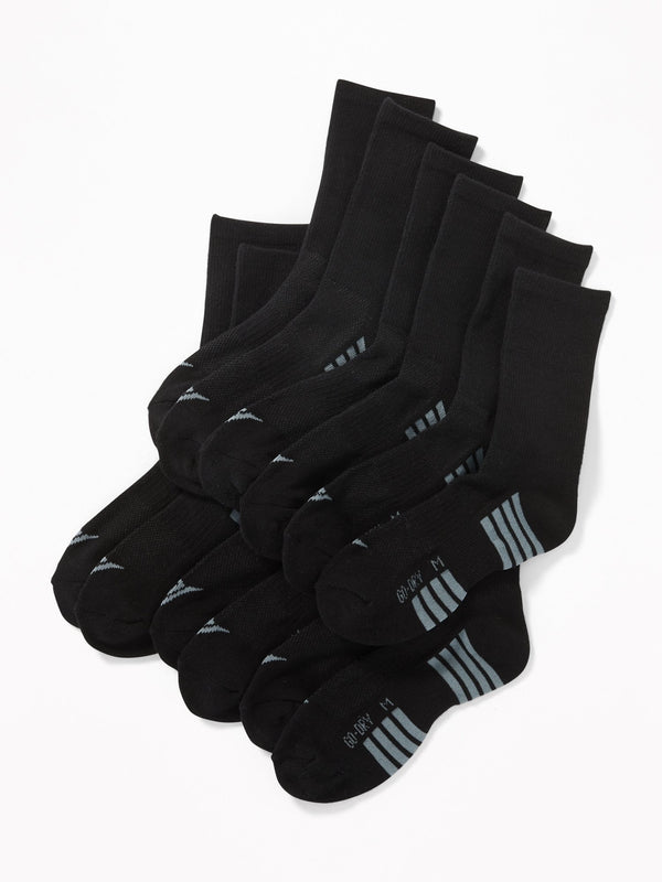 Medias Go-Dry Crew Socks 6-Pack For Boys - Negro Jack