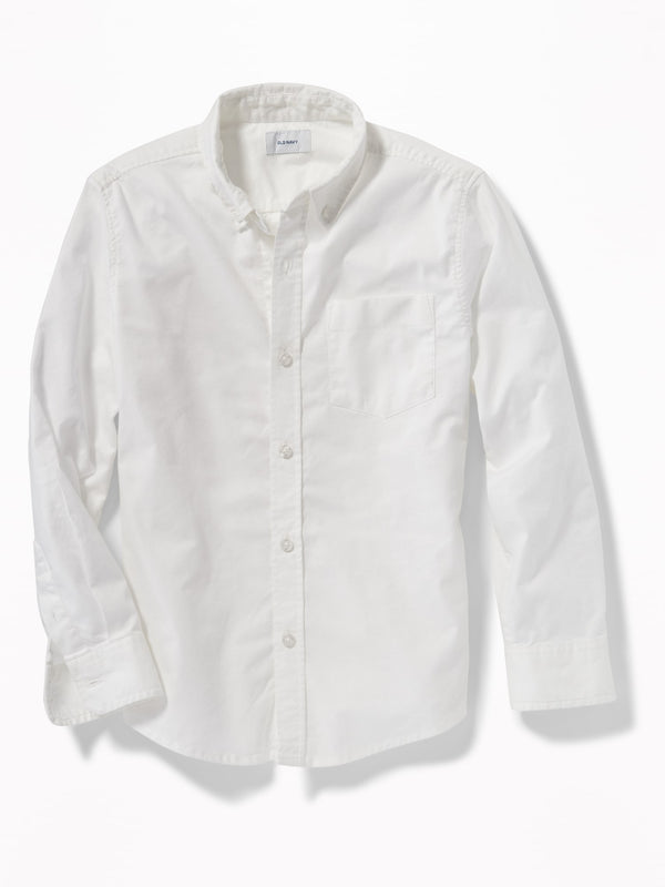 ON Lightweight Built-In Flex Oxford Uniform Shirt For Boys - Bright White
