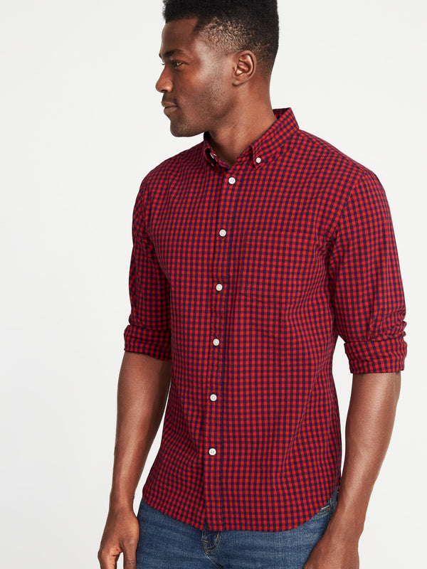 Camiseta Manga Larga Slim Everyday Plaid Poplin Stretch-Robbie Red