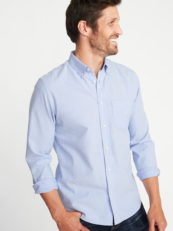 Camisa Manga Larga Slim Everyday Oxfords-MED BLUE OXFORD
