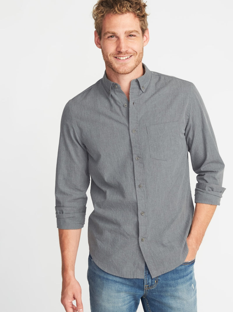 ON Slim-Fit Poplin Shirt For Men - Heather Gris