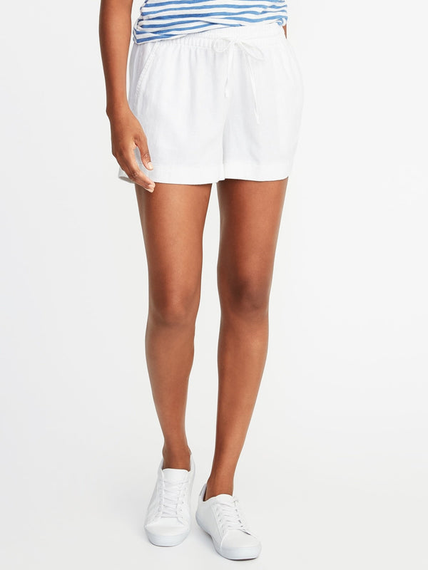 ON Mid-Rise Linen-Blend Shorts For Women - 4 Inch Inseam - Blanco Brillante