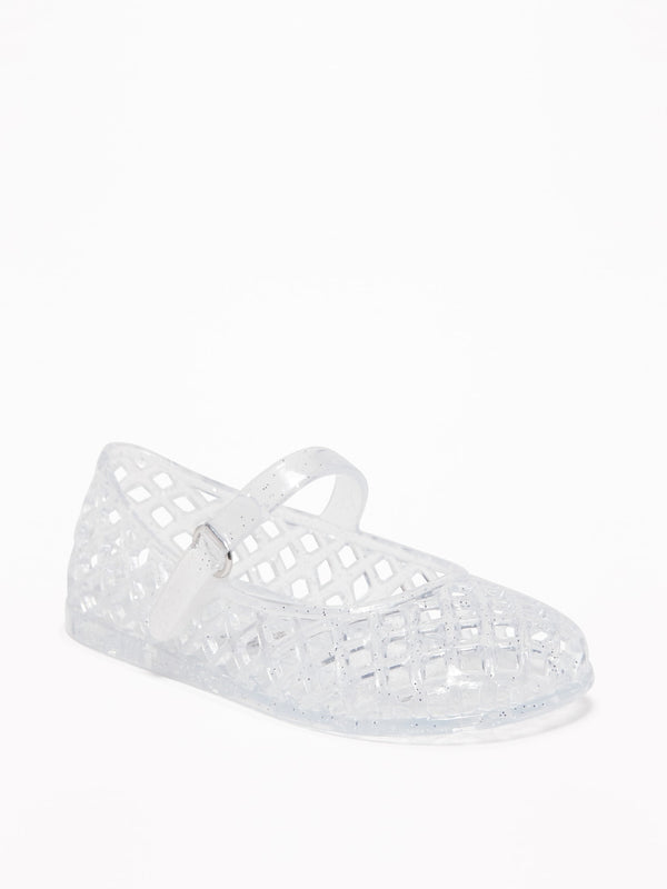 ON Basket-Weave Jelly Ballet Flats For Toddler Girls - Clear