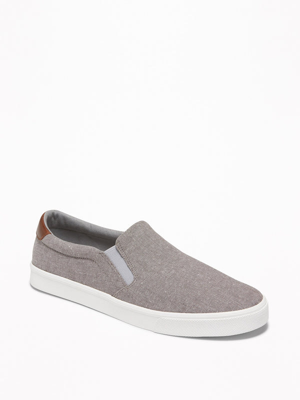 ON Mixed-Fabric Slip-Ons for Men - Light Grey