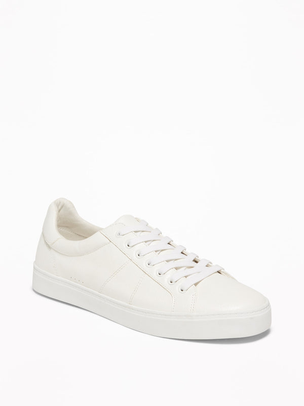 ON Faux-Leather Sneakers for Men - On White