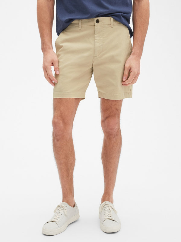 Shorts-7 In Casual Stretch Flex-Sand Khaki