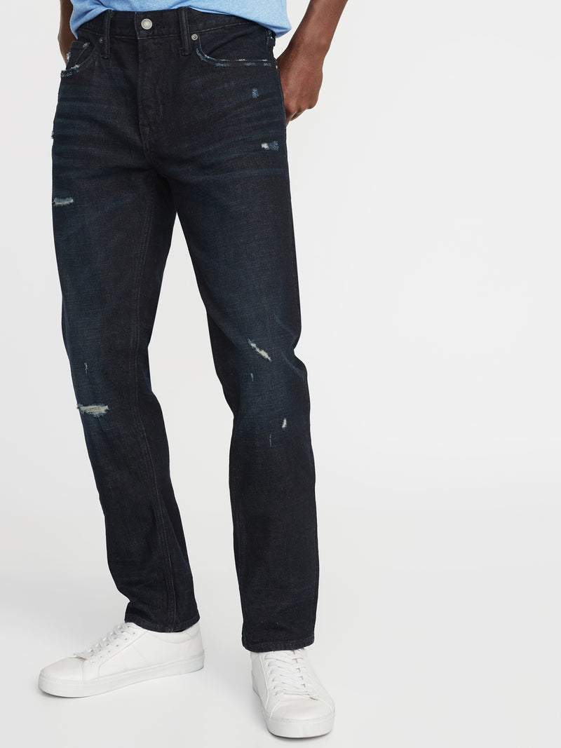 ON Slim Built-In Flex Distressed Jeans For Men - Dark Wash