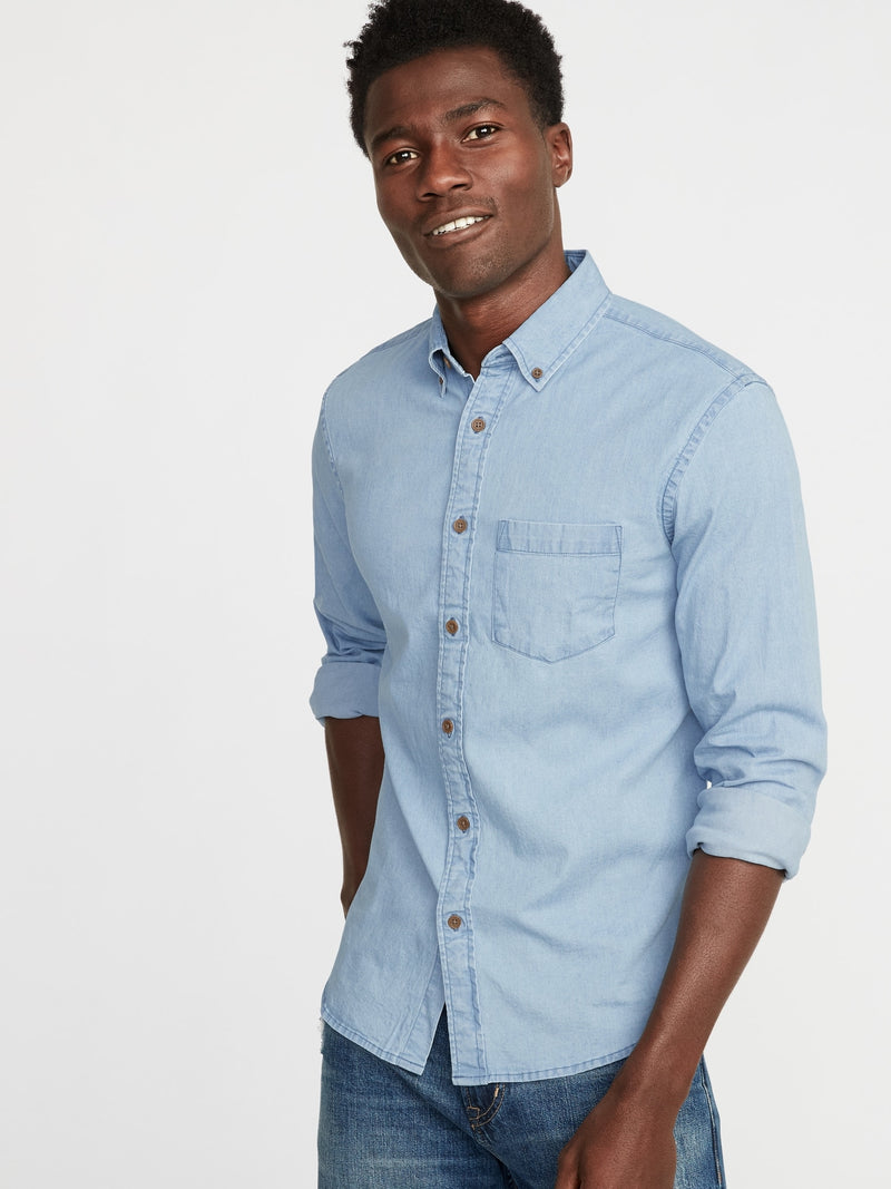 ON Camisa Slim-Fit Built-In Flex Chambray Everyday Shirt for Men - Medium Wash